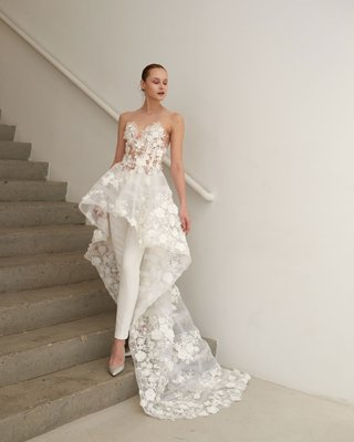 francesca-miranda-spring-2019-bridal-collection-alina-high-low-wedding-dress-sheer-flowers-over-pant