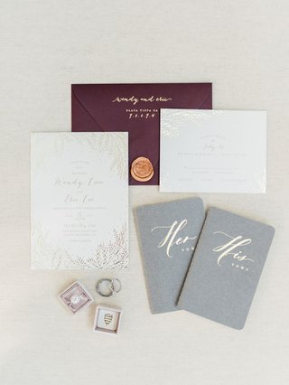 wedding-invitation-suite-gold-foil-invitation-oxblood-burgundy-maroon-menu-gold-wax-seal-his-hers