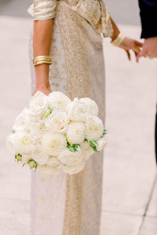 bridal-bouquet-with-ivory-roses-and-dahlias-carried-by-south-asian-bride-in-sari