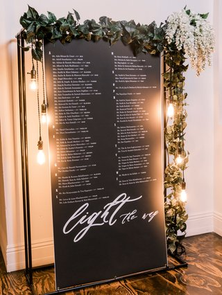 wedding-reception-seating-chart-garland-of-greenery-lightbulb-vintage-style-edison-bulb