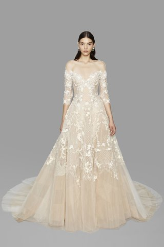 look-12-marchesa-fall-2017-ivory-nude-off-the-shoulder-tulle-ball-gown-3d-ribbon-3-4-sleeves