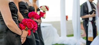 hot-pink-bridesmaid-bouquet-roses-black-dark-grey-dresses-bridesmaids