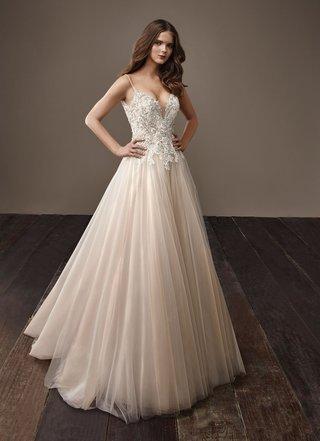 badgley-mischka-bride-2018-collection-wedding-dress-bernice-bridal-gown-blush-champagne-thin-straps