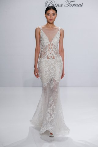 pnina-tornai-for-kleinfeld-2017-dimensions-collection-sheer-wedding-dress-net-embroidery-lace-v-neck