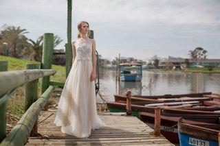 limor-rosen-2017-ginger-wedding-dress-beaded-crop-top-with-full-blush-tulle-skirt