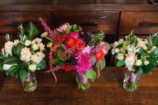 vibrant-bride-bouquet-and-ivory-bridesmaid-flowers