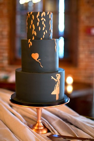 actress-brittany-daniel-and-adam-touni-wedding-cake-three-layer-black-cake-with-rose-gold-copper