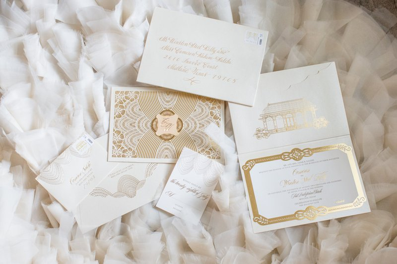 White & Gold Wedding Invitations