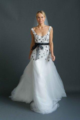 sabrina-dahan-2016-scoop-neck-wedding-dress-with-black-beading-on-bodice-and-black-bow