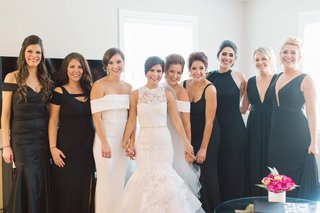 bridesmaids-in-black-dresses-katie-may-maids-of-honor-in-white-dresses-bride-in-monique-lhuillier