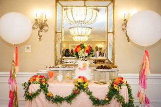 beverly-hills-bridal-shower-colorful-theme-pink-red-orange-yellow-flowers-greenery-cake-table