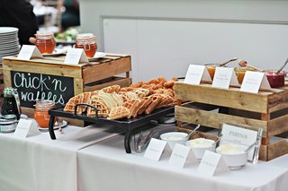 wedding-food-station-catering-ideas-chicken-and-waffles-with-pairings-herb-butter-honey-jams