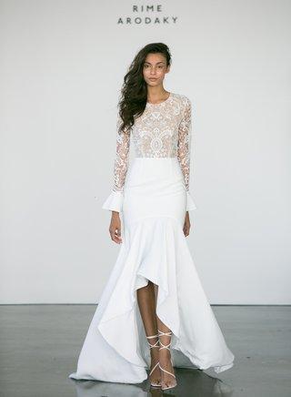 rime-arodaky-fall-2017-bridal-endora-lace-wedding-dress-long-sleeves-high-low-crepe-skirt