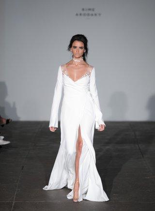 rime-arodaky-2018-bridal-collection-wedding-dress-long-sleeve-bridal-gown-v-neck-high-slit-sheer
