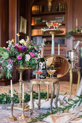 drink-station-with-gold-platter-sign-perrier-jouet-coupe-champagne-glasses