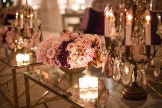 wedding-after-party-reception-gold-coffee-table-decorated-with-candle-votives-candelabra-pink-roses