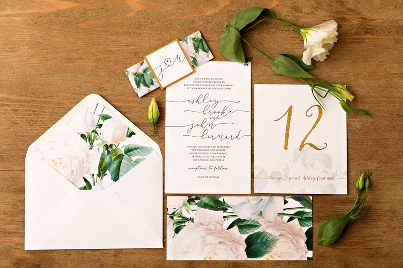 Floral Envelope Liner & Invitation