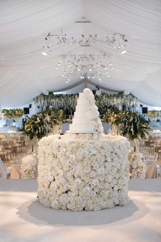 white-wedding-cake-with-fresh-flower-decorations-on-flower-cake-table-white-tent-stage