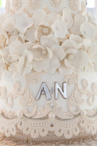 silver-wedding-initials-on-cake-with-sugar-flowers-and-lace
