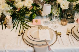 wedding-place-setting-white-wine-glass-goblet-pink-place-card-gold-wax-seal-tassel-on-menu-card-gold