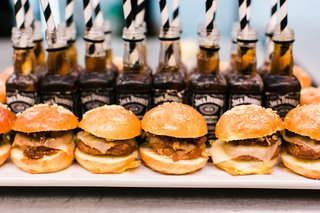 wedding-hors-doeuvres-barbecue-slider-burger-sandwiches-with-jack-daniels-straws