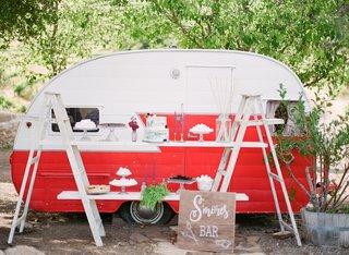 smores-bar-ladders-red-white-trailer-california-boho-chic-wedding-styled-shoot-unique-vintage-treat