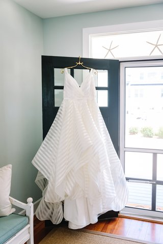 hayley-paige-striped-wedding-wedding-v-neck-a-line-gown