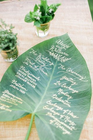 tropical-destination-wedding-idea-wedding-program-written-in-calligraphy-on-palm-frond