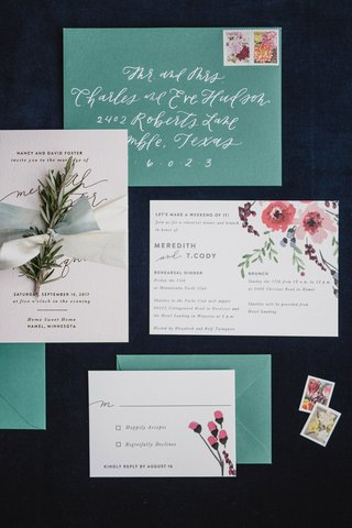 wedding-invitation-suite-with-vintage-invite-green-envelope-white-calligraphy-pink-flower-design
