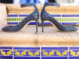 sparkling-blue-bridal-heels-shoes-girly-southern-california-wedding-la-valencia-hotel-spanish
