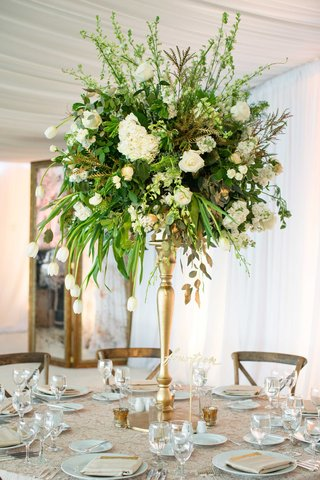 demarco-murray-wedding-gold-riser-green-centerpiece-with-tulip-hydrangea-lace-linens
