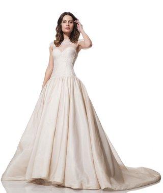 olia-zavozina-fall-winter-2016-champagne-ball-gown-with-illusion-neckline