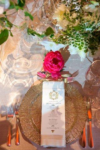 wedding-reception-gold-charger-plate-napkin-gold-flatware-pink-peony-flower-design-monogram-on-menu