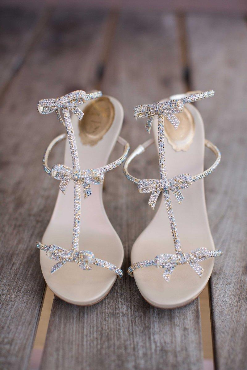 Shimmering Bow Bridal Sandals