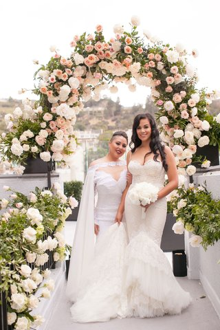 same-sex-wedding-gay-marriage-brides-wearing-inbal-dror-and-michael-costello-wedding-dresses