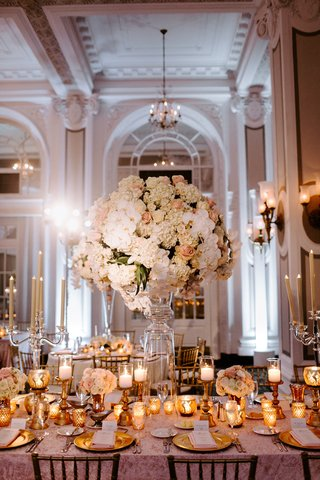 wedding-reception-ballroom-tall-centerpiece-white-orchid-hydrangea-pink-flower-rose-gold-candles