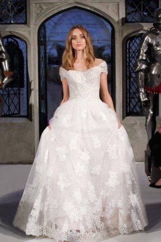 oleg-cassini-spring-2018-wedding-dress-off-shoulder-cap-sleeve-ball-gown-tulle-skirt-lace-applique