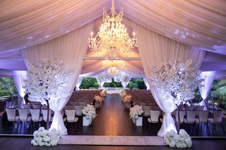 four-seasons-hotel-los-angeles-at-beverly-hills-wedding-ceremony-chandelier-white-drapery-purple