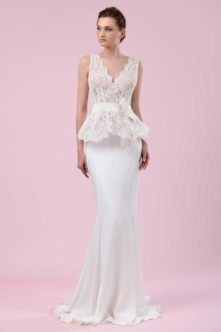 gemy-maalouf-2016-form-fitting-wedding-dress-with-lace-peplum-bodice-and-bow-belt