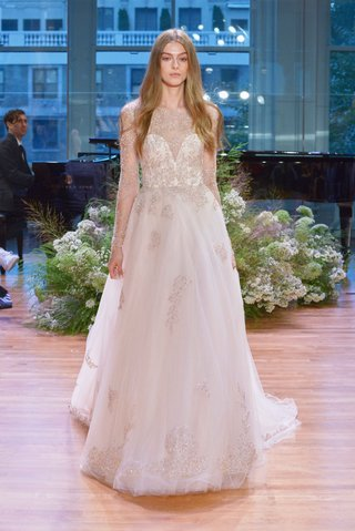 monique-lhuillier-fall-2017-bridal-collection-rhapsody-wedding-dress-sheer-long-sleeves-flowers