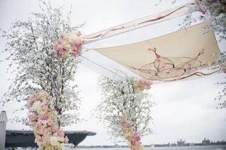 wedding-ceremony-san-diego-chuppah-same-sex-wedding-cherry-blossom-tree-pink-white-flowers-hebrew