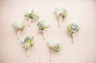 dusty-miller-and-white-rose-boutonniere-wrapped-with-lace