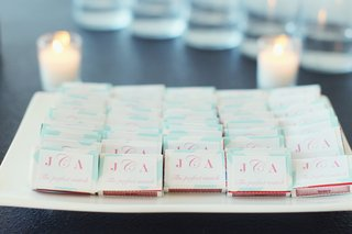 wedding-reception-with-personalized-white-matchbox-with-pink-lettering-and-light-blue-coloring