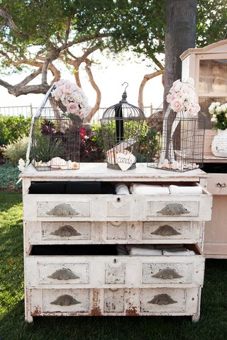 floral-birdcages-on-top-of-vintage-dresser