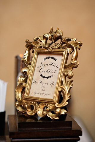 wedding-reception-with-cocktail-listed-in-a-ornate-gold-frame
