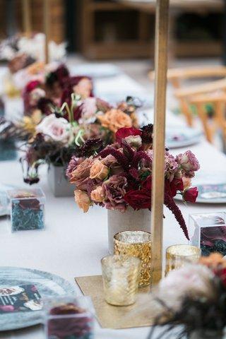 small-vases-with-burgundy-peach-roses-astilbe-mercury-votives
