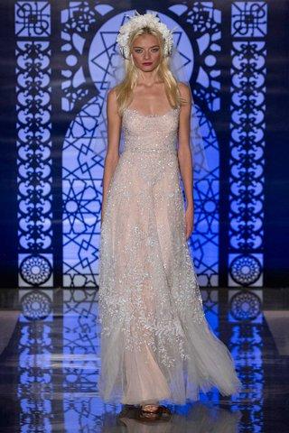 reem-acra-bridal-fall-2016-blush-sheath-wedding-dress-with-silver-beaded-tulle-overlay