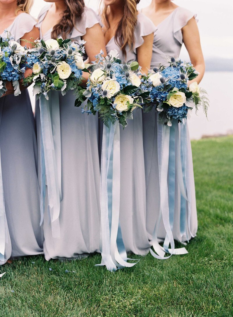 Blue & White Bridesmaid Bouquets