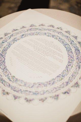 jewish-prenuptial-agreement-ketubah-blue-and-white-sun-motif-design