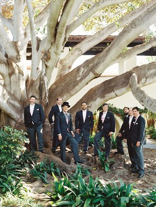 groom-and-groomsmen-in-front-of-tree-black-suites-pink-bow-ties-and-vests